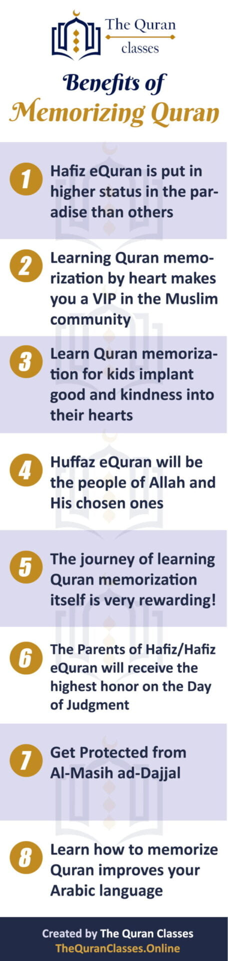 8 Benefits of Memorizing Quran (infographic) - The Quran Classes