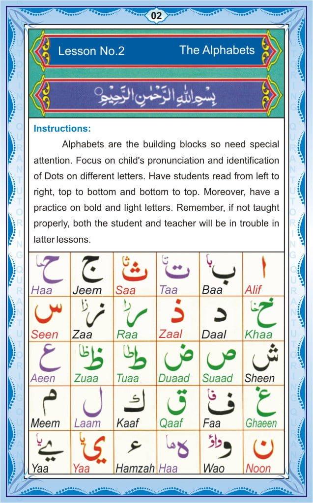 Noorani Qaida Page 2 – Lesson 1